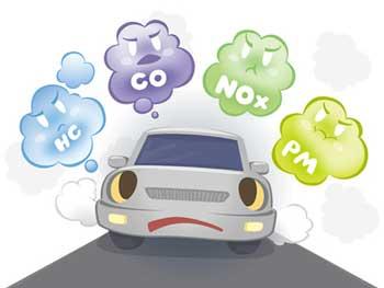 排気ガスを出す自動車